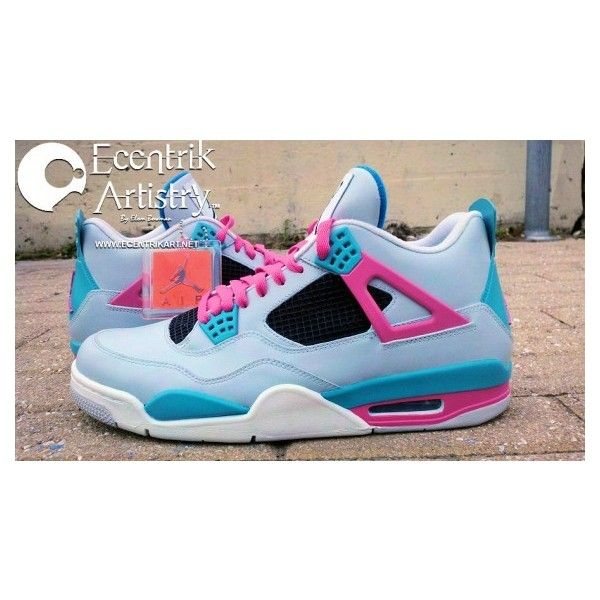 "best loved 76e3f d78b0 Air Jordan IV ""South Beach"" Customs by Ecentrik Artistry ❤ liked on Polyvore"