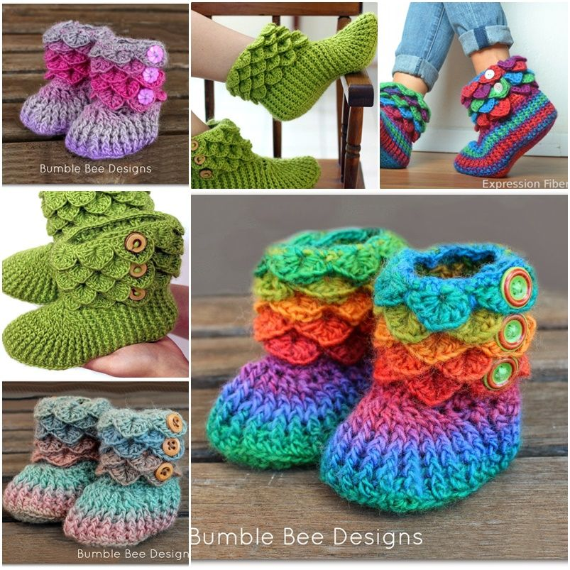 How to Make Crocodile Crochet Boots to Keep You Warm | Zapatitos ...
