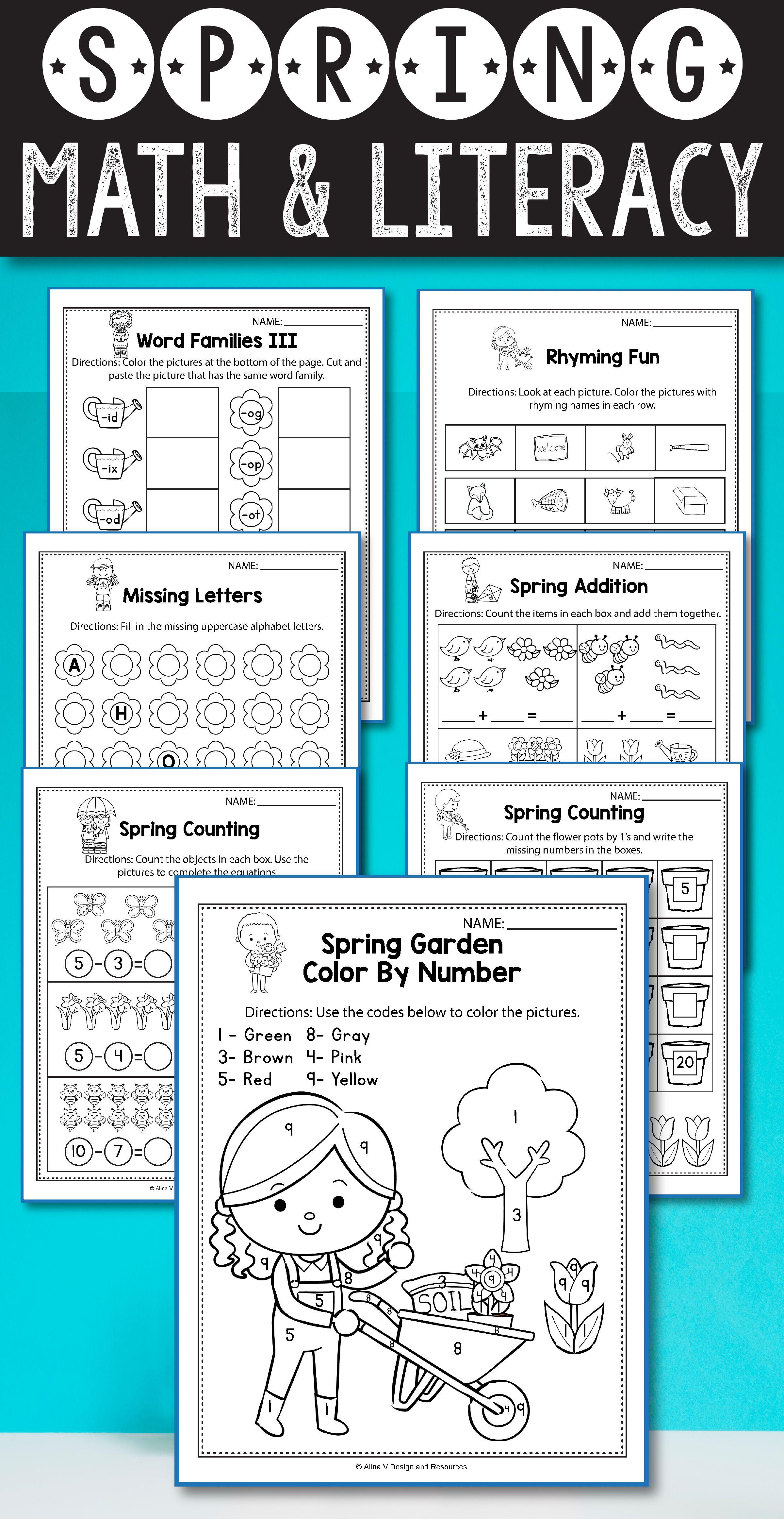 Spring Math and Literacy, Spring Activities Kindergarten BUNDLE ...