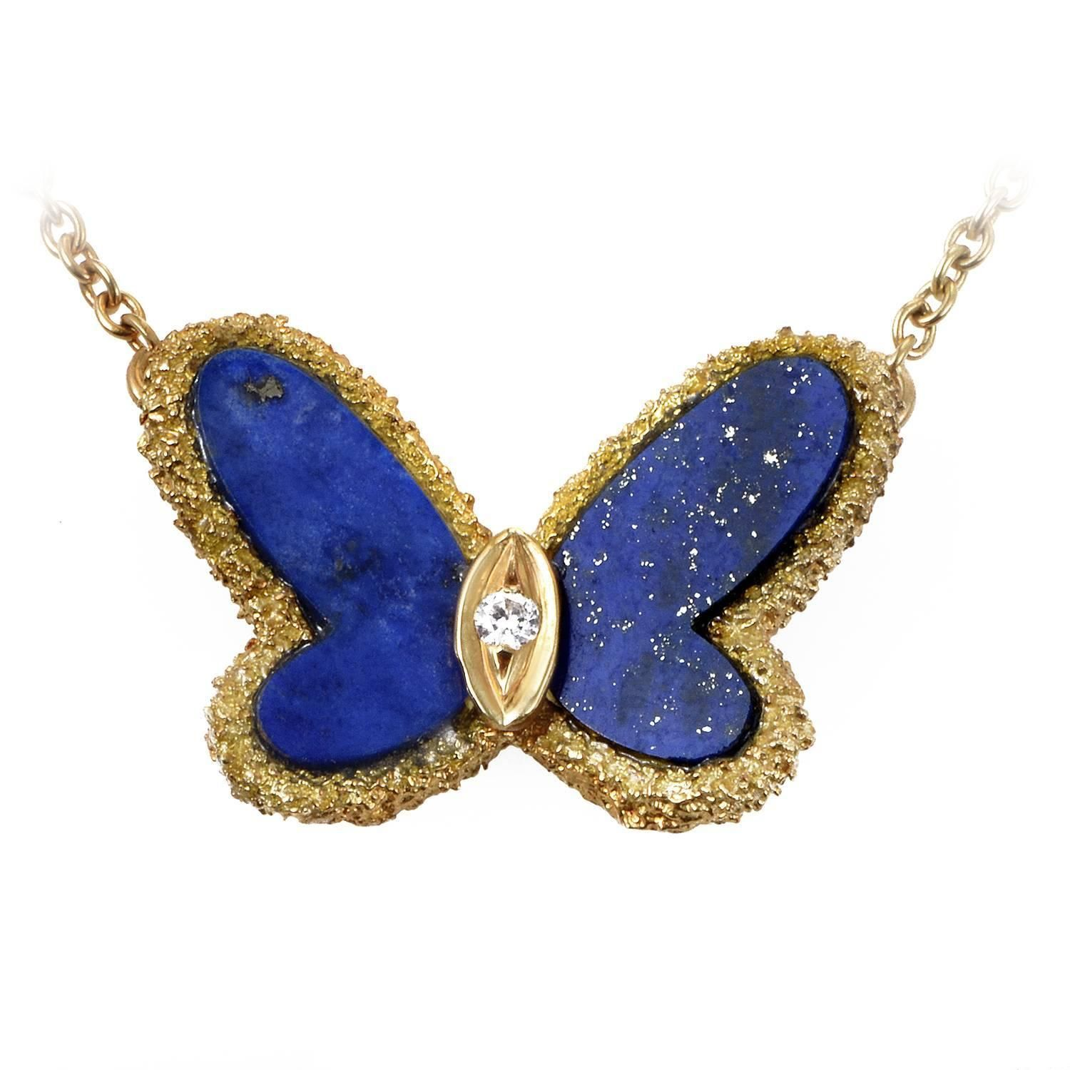Van cleef amp arpels vca 18k yellow gold ruby cabochon amp diamond - Van Cleef Arpels Lapis Diamond Gold Butterfly Necklace
