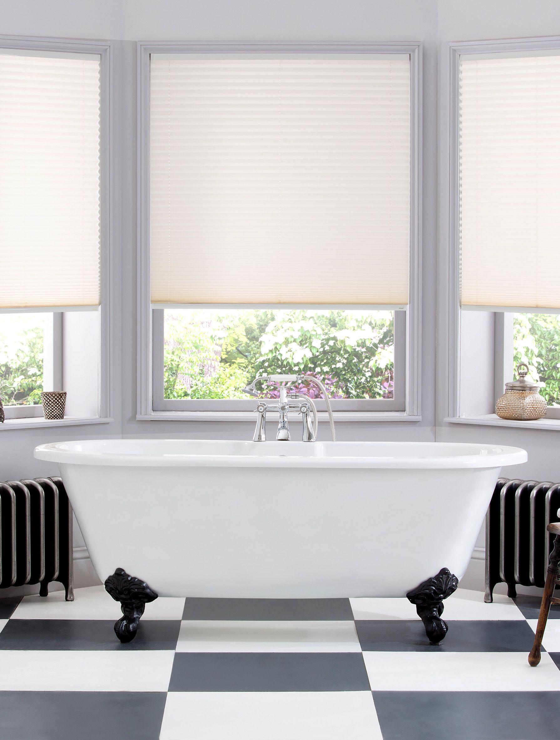 Style Studio pleated Calia bathroom blinds in cream. Traditional ...