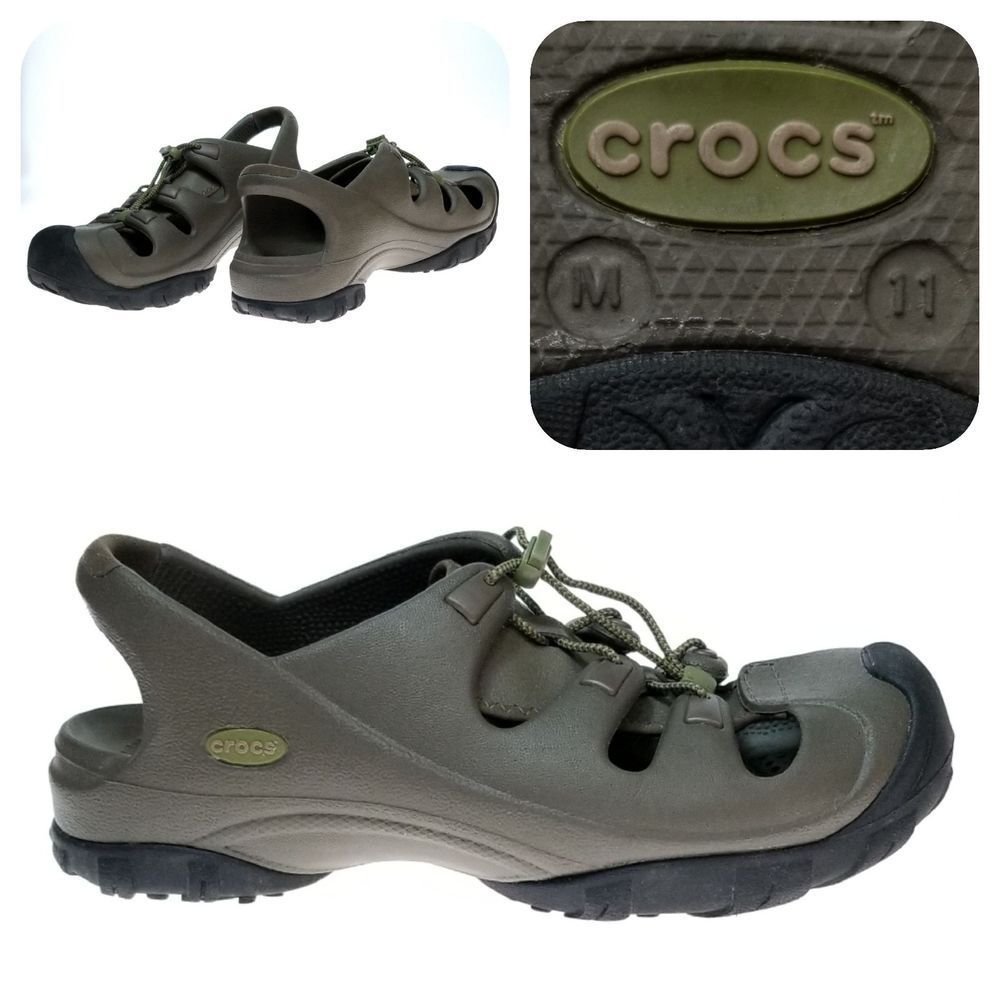 52da350a7e8 Crocs Men's Trail Hiking Shoes Brown Adjustable Drawstring Size 11 ...