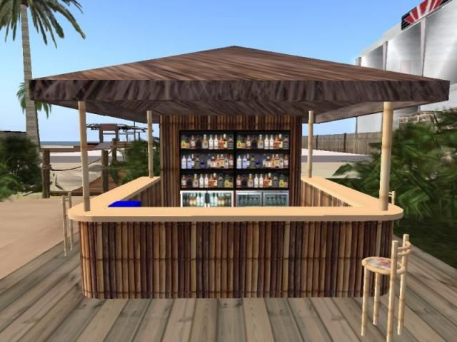 Teleport looking at a cool beach bar a beautiful bamboo for Beach bar decorating ideas