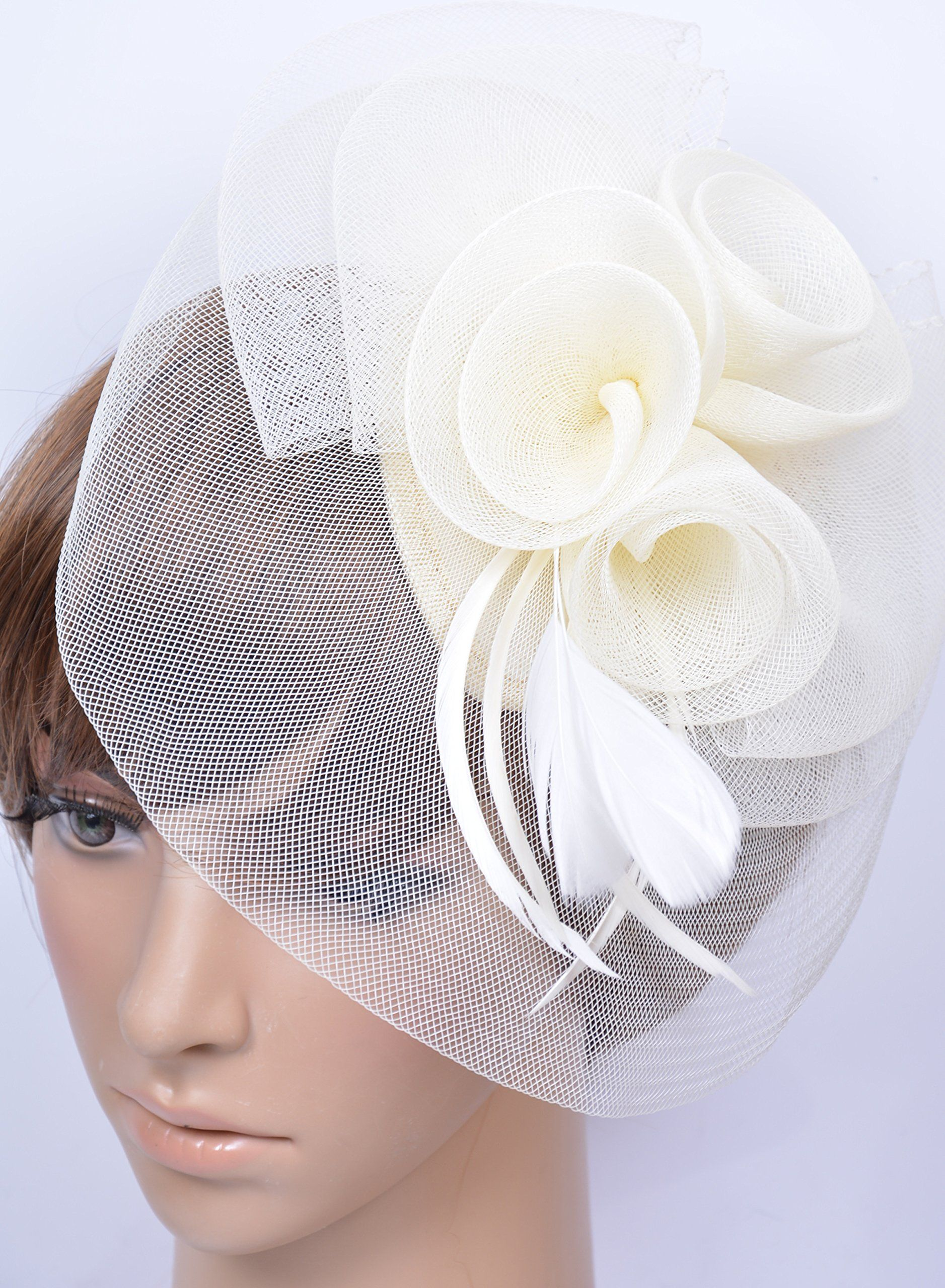 Womens Elegant Feather Fabric Flower Fascinator Hair Clip (Ivory) at Amazon  Women s Clothing store  White Church Hat 35ecad4a6b2