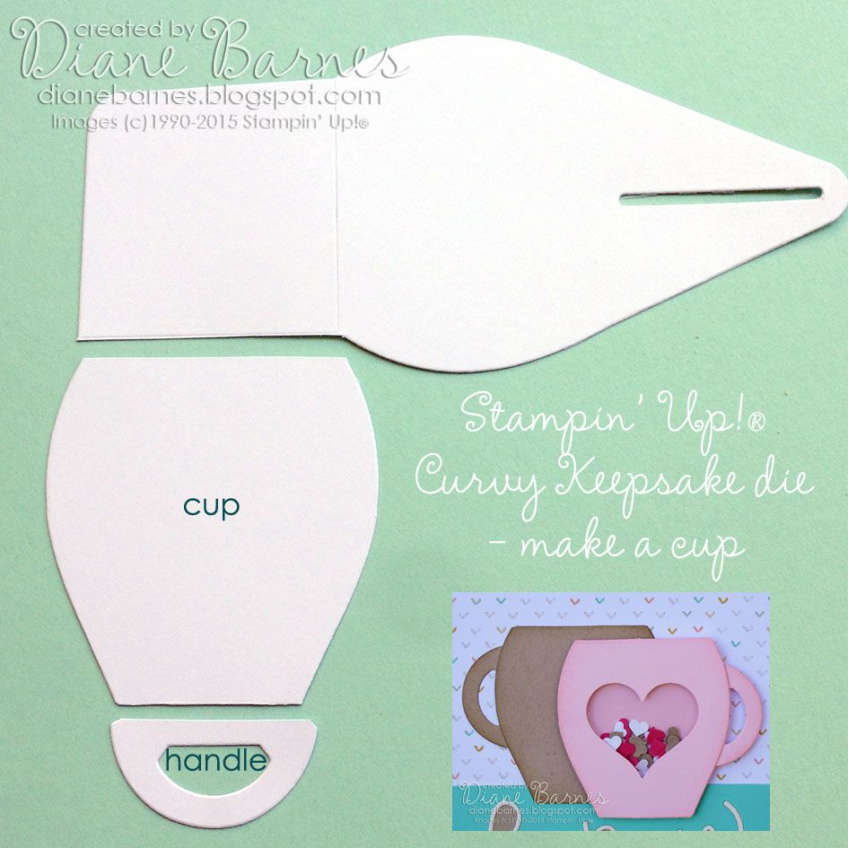 how to make a cup using the Stampin Up Curvy Keepsake die. By Di Barnes #colourmehappy