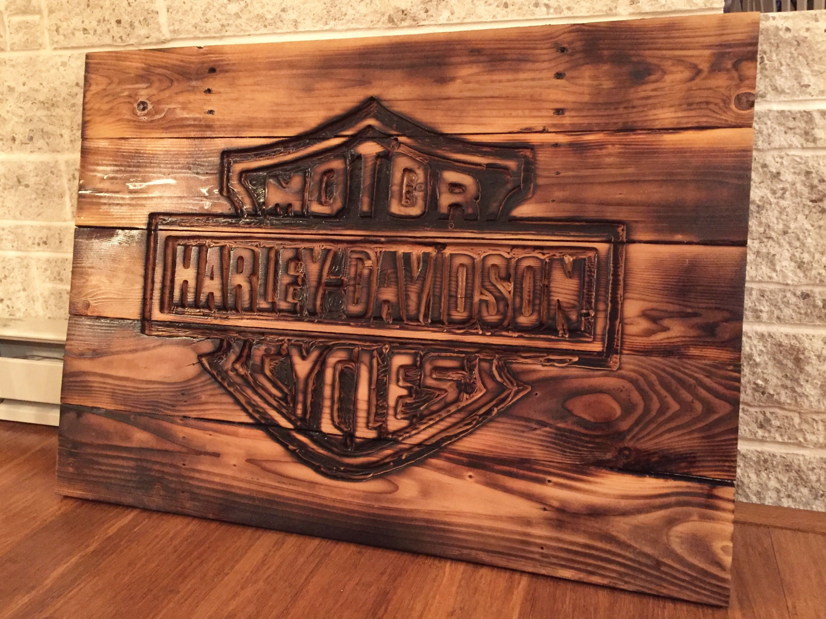 Harley Davidson Sign Made From Pallets Reclaimed Wood Harley