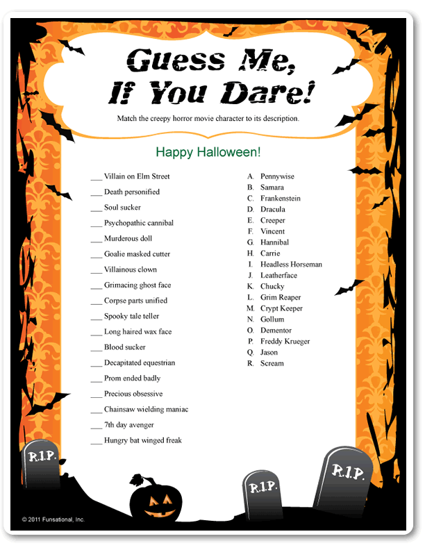 printable guess me if you dare spooky funsationalcom