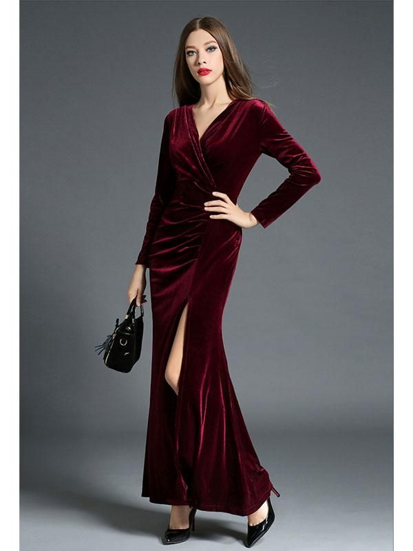 fe88b861c14d8 Material: VelvetOccasion: CasualType: DressColor: Black, Burgundy,  GreenSize: S, M, L, XLPackage: 1 x dressNotice:1. The actual color may vary  slightly from ...