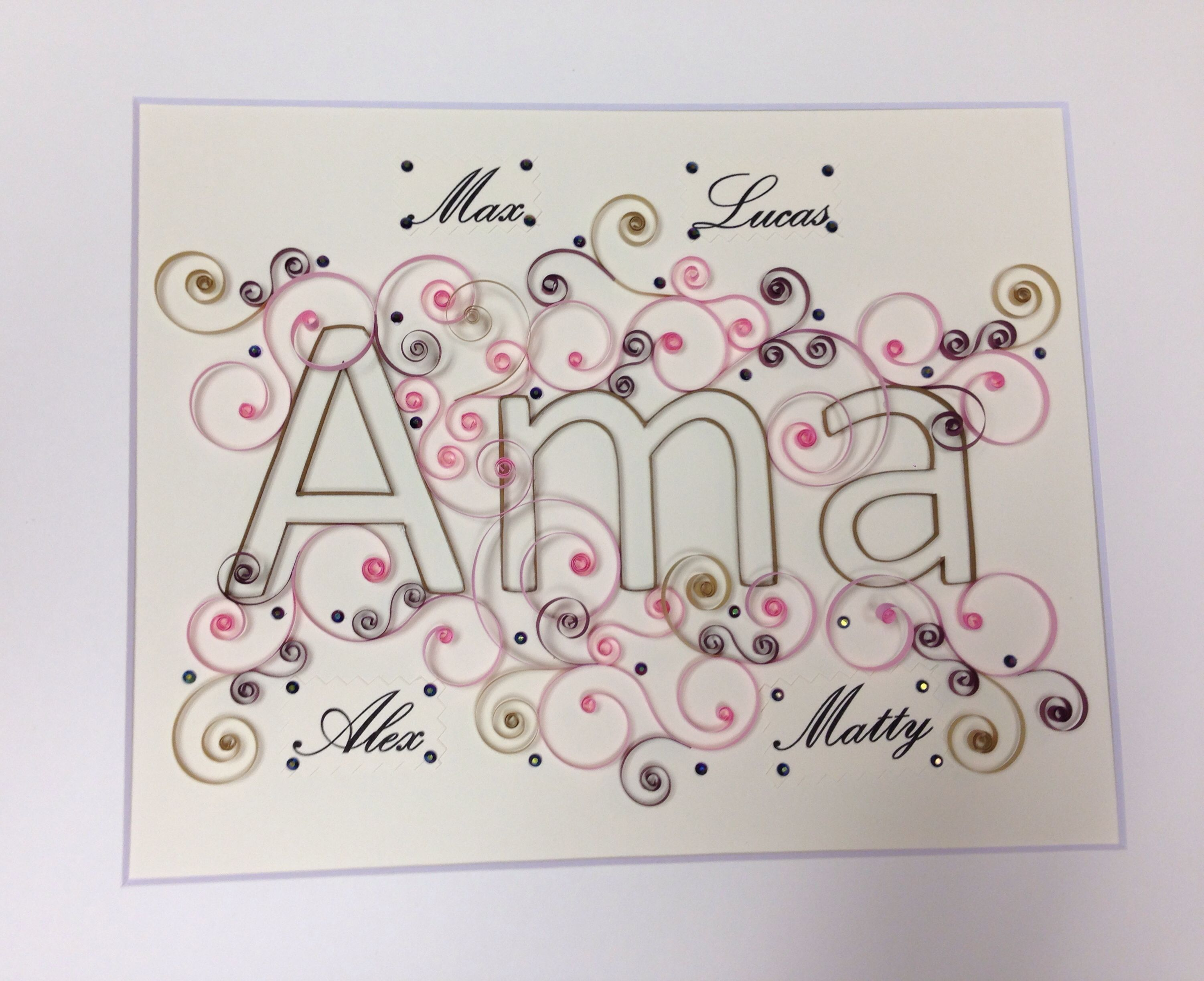 Quilling letters, Letters