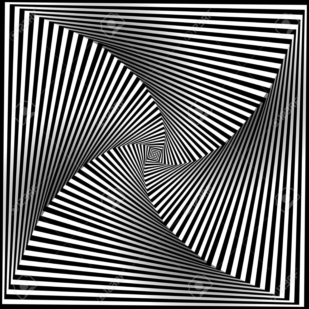 Line Optical Designing : Spiral optical illusion abstract black and white