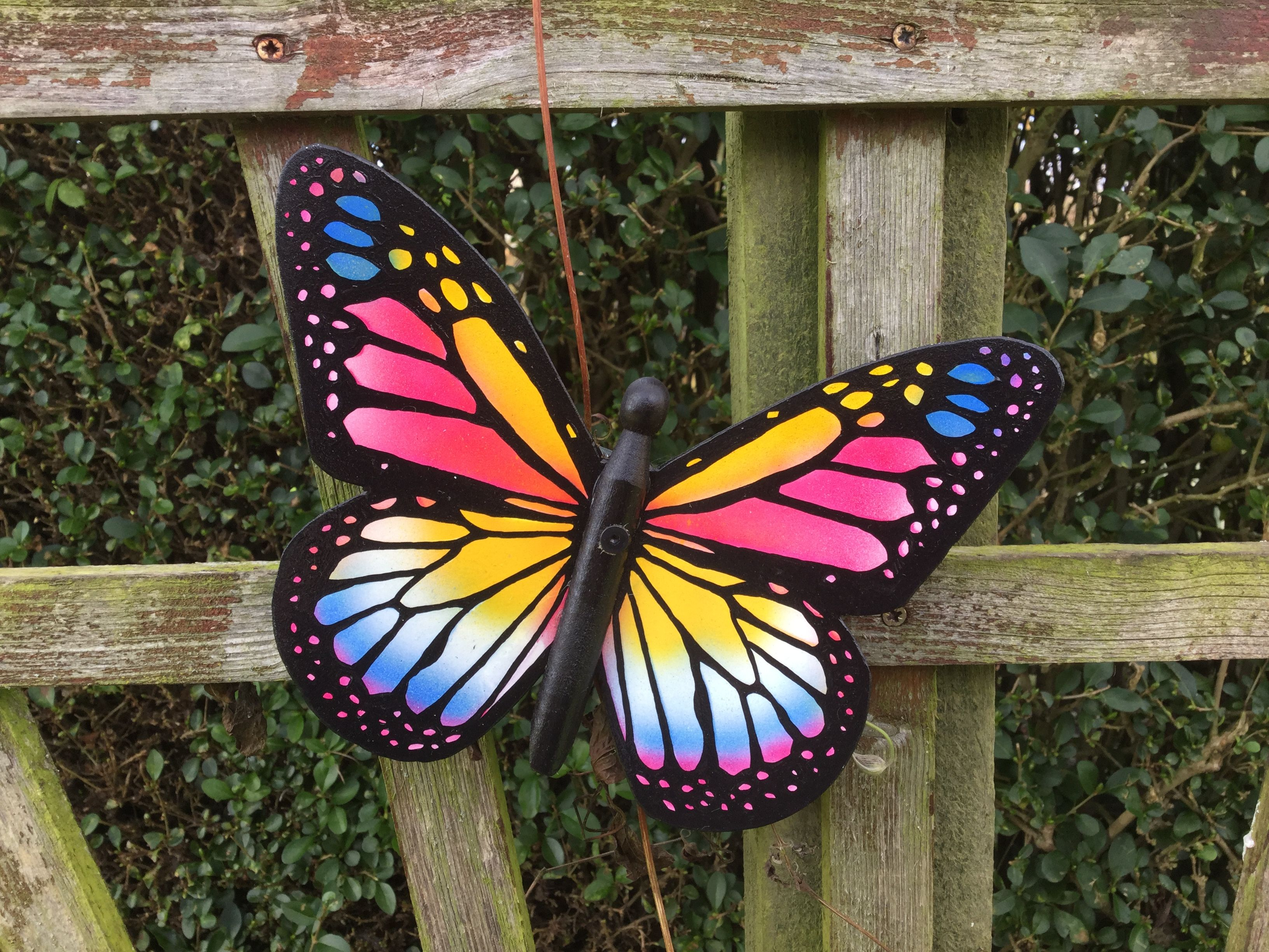 Colourful handmade metal garden butterfly garden for Outdoor butterfly ornaments