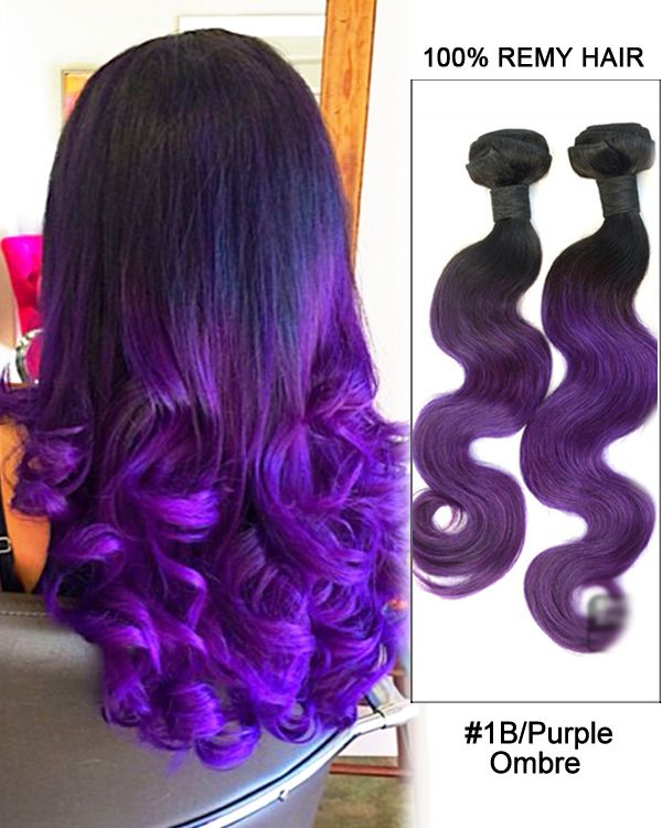 """18"""" Black Purple Ombre Weave Body Wave Weft Remy Human ..."""