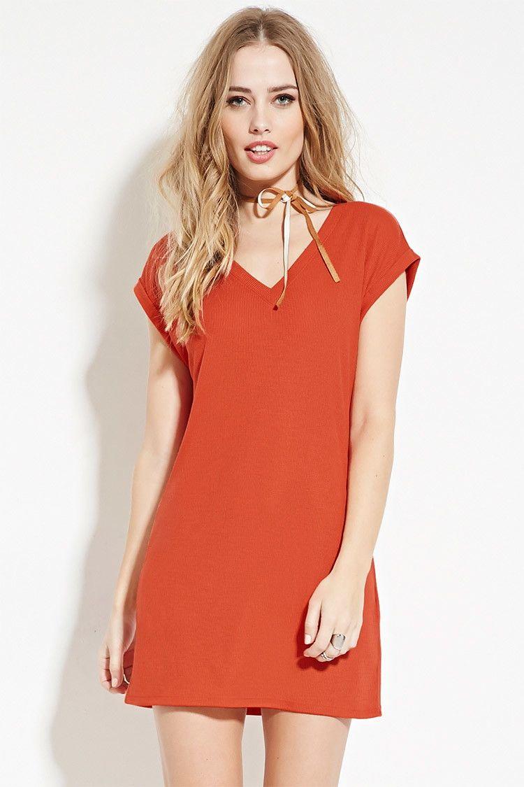 31abad05a4 Ribbed Knit T-Shirt Dress