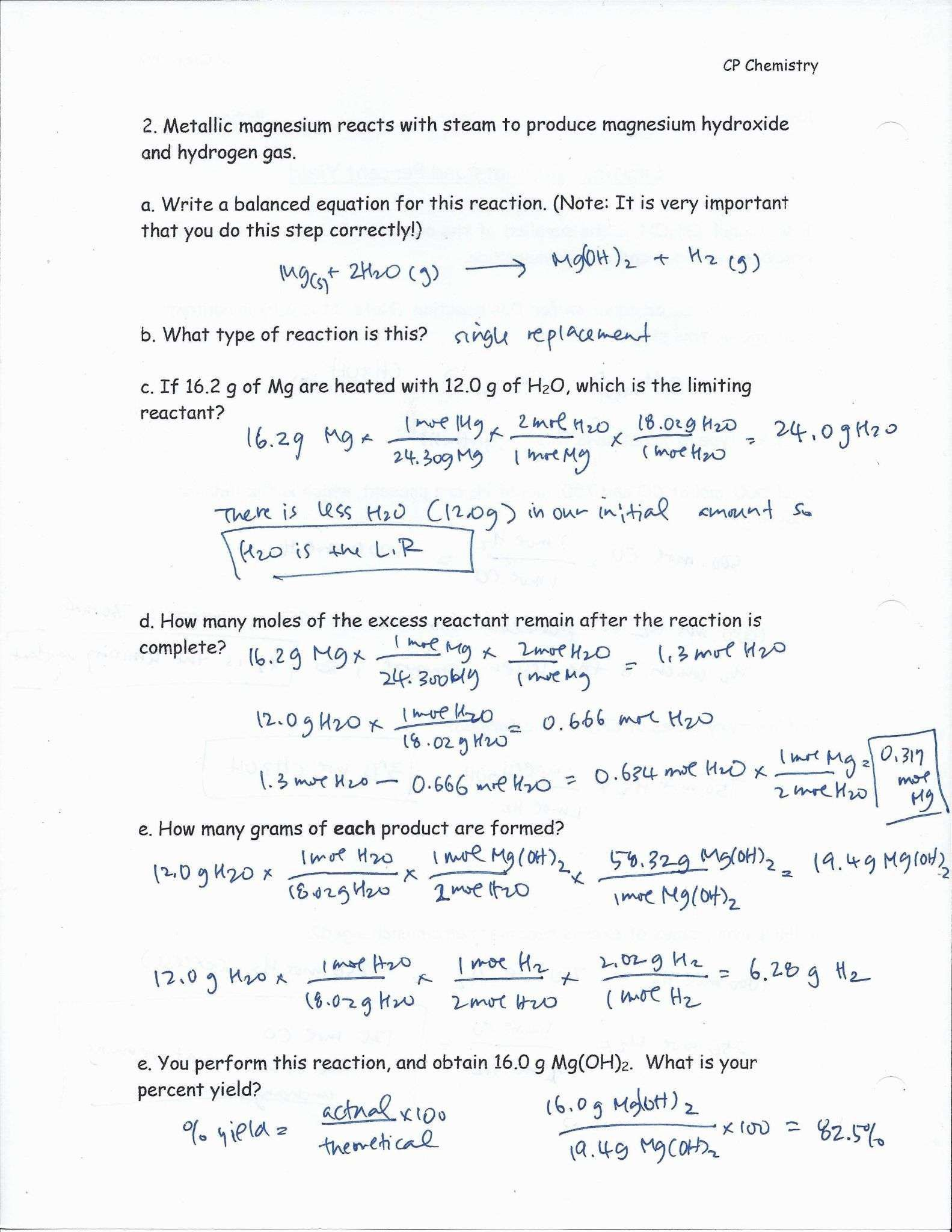 Newgeneral Stoichiometry Limiting Reagent Worksheet