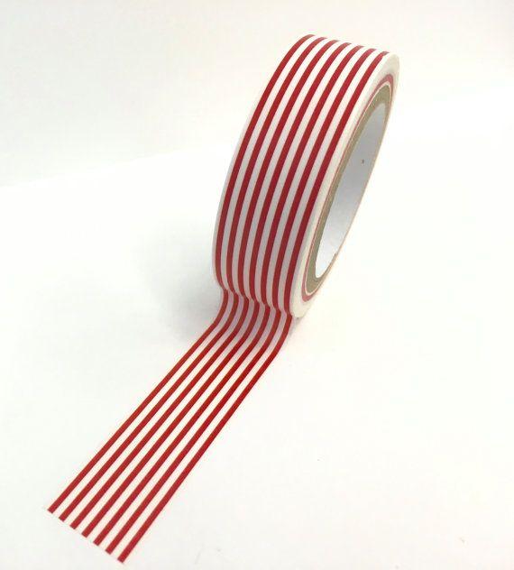 Red White Stripe Paper Washi Tape By Playingwithcolor2 On Etsy Red And White Stripes Red And White Washi