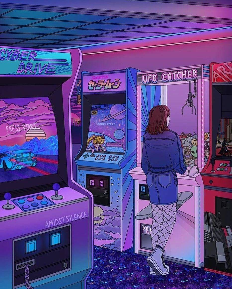 Vintage Video Game Arcade Neon Vapor Wave Illustration Aesthetic