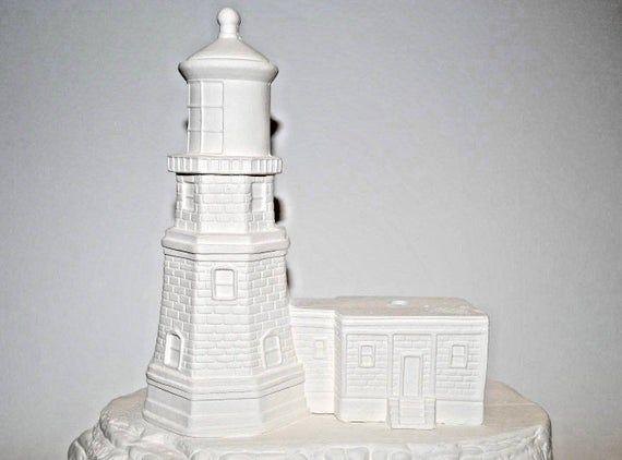 Lighthouse Lamp Base Ceramic Bisque Lighthouse Ceramic Bisque Ready To Paint Ceramic Paint Your