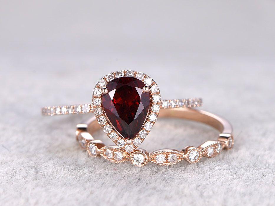 2pcs garnet bridal ring set diamond wedding band rose gold art deco thin stacking matching 14k - Garnet Wedding Ring