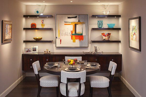 15 Stylish Small Dining Room Designs That Are Worth Seeing Small Dining Room Decor Dining Room Shelves Floating Shelves Living Room