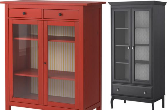 Red Cabinet With Striped Wallpaper For Storing China Or Linens