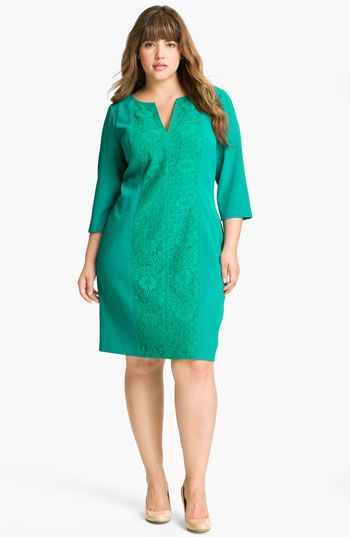 Adrianna Papell Crochet Detail Sheath Dress (Plus) available at #Nordstrom