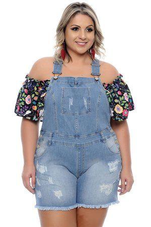 2b648818bb Macaquinho Jeans Plus Size Elita Estampas Listradas