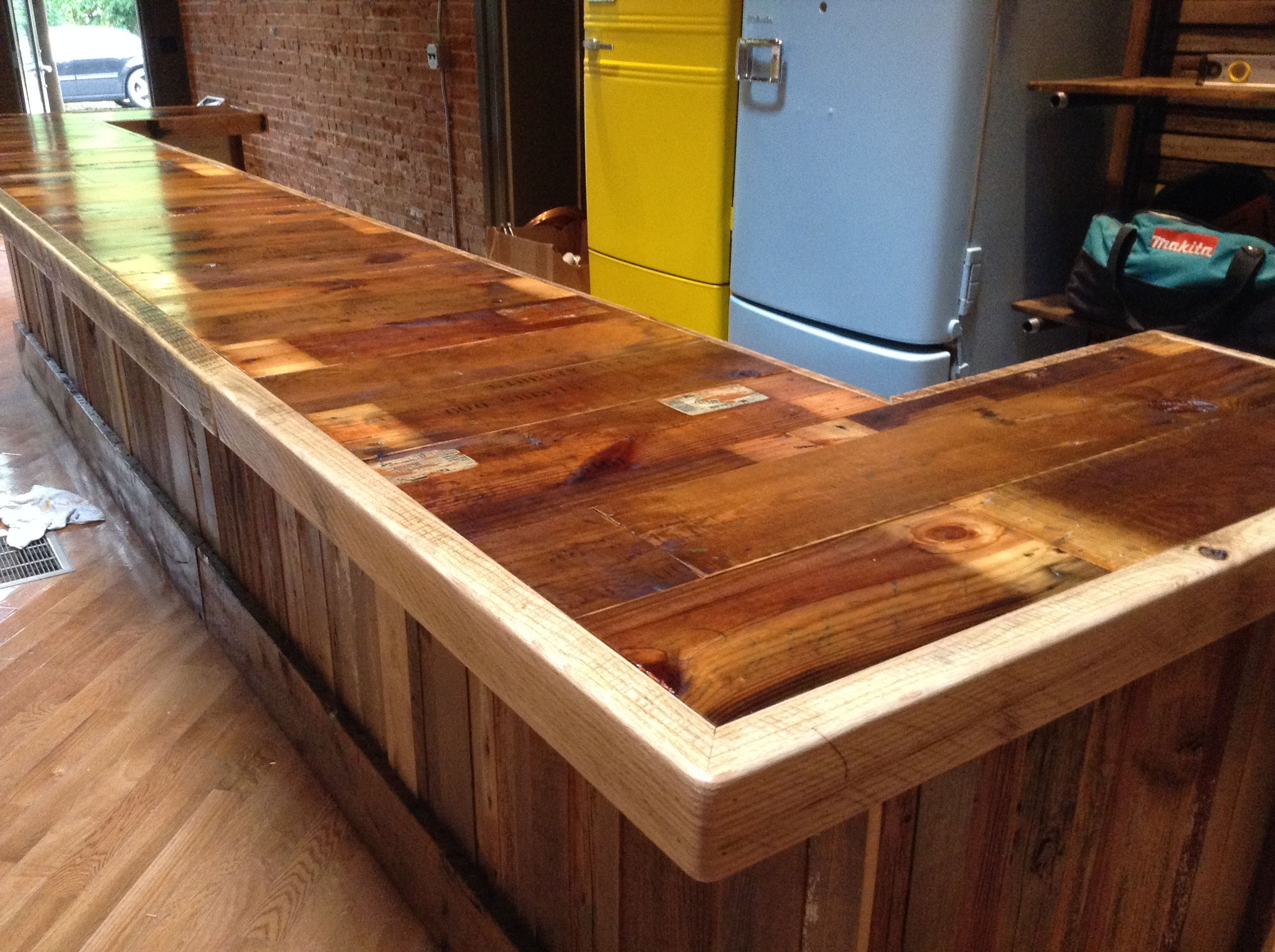 Wood Bar Top Reclaimed Paper Crate Bar Top Framed With Barn Wood Oak With