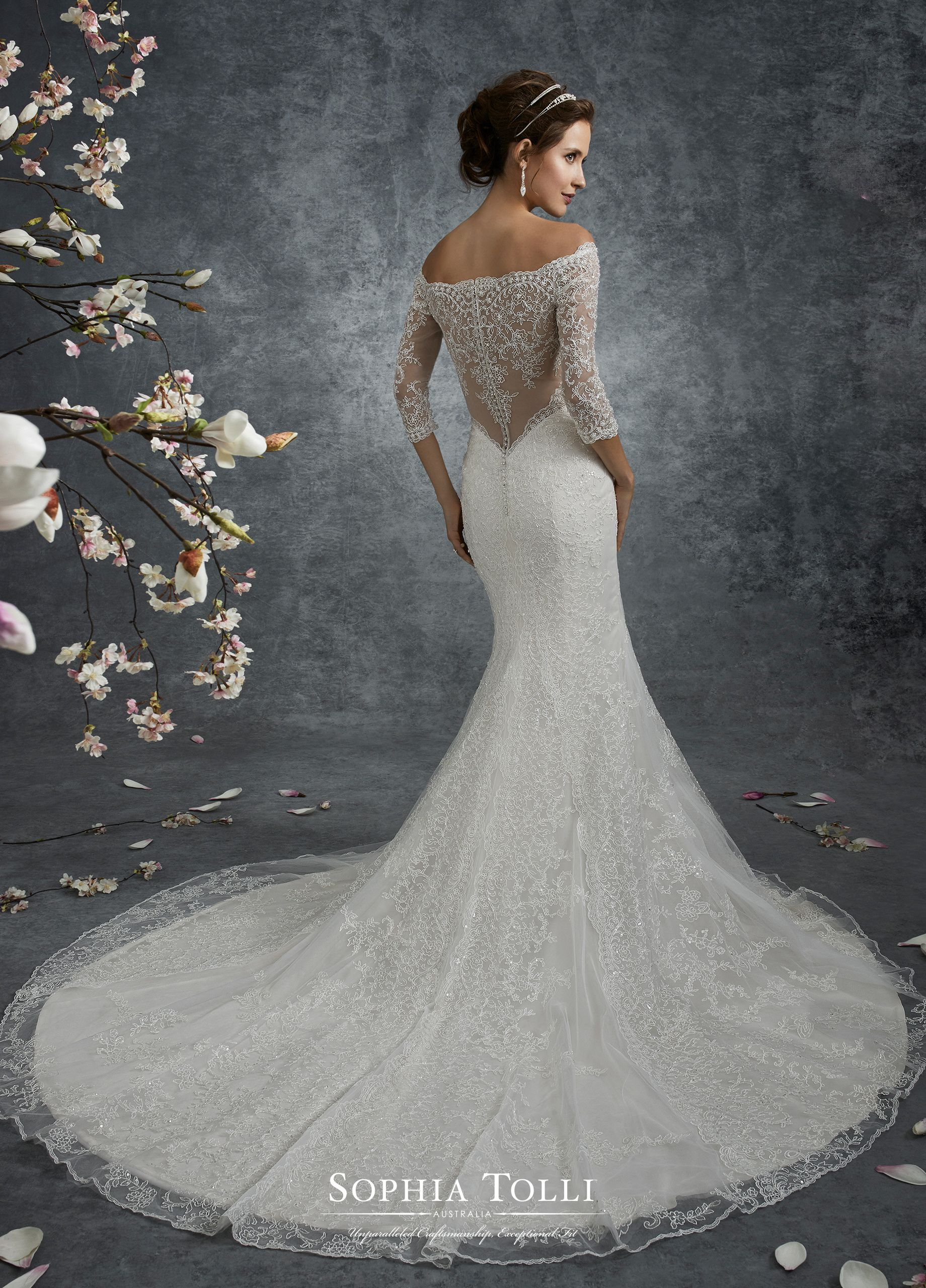 e9fbdcc95a1e Y21746 Corona - Off-the-shoulder misty tulle and hand-beaded lace motif  trumpet gown with illusion lace three-quarter length sleeves
