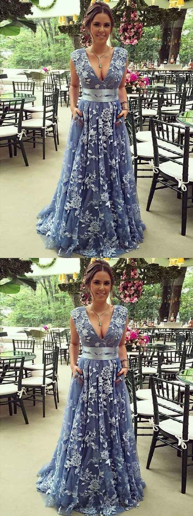 chic aline blue prom dresses v neck with applique african prom