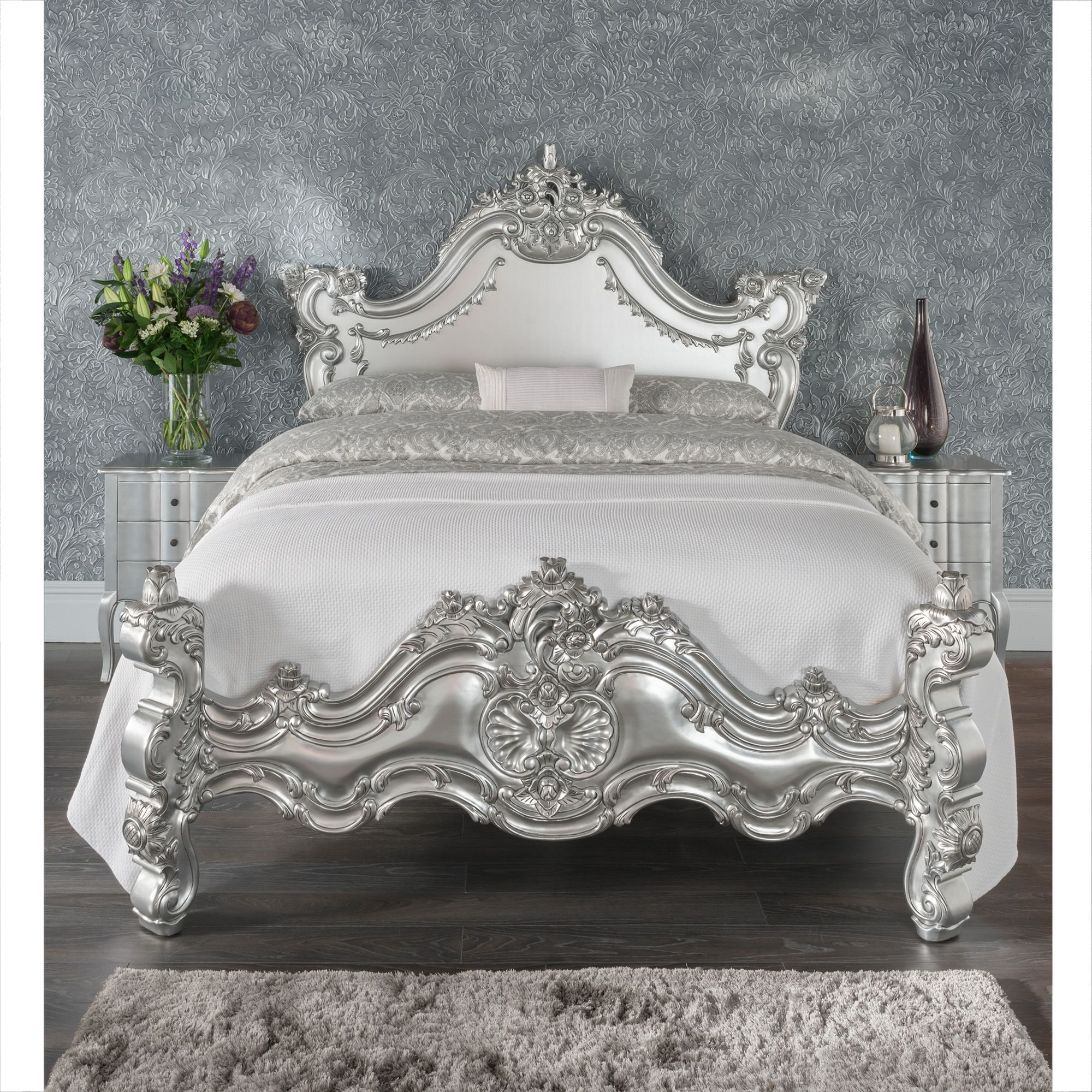 Silver Estelle Antique French Style Bed Shabby Chic Bedroom