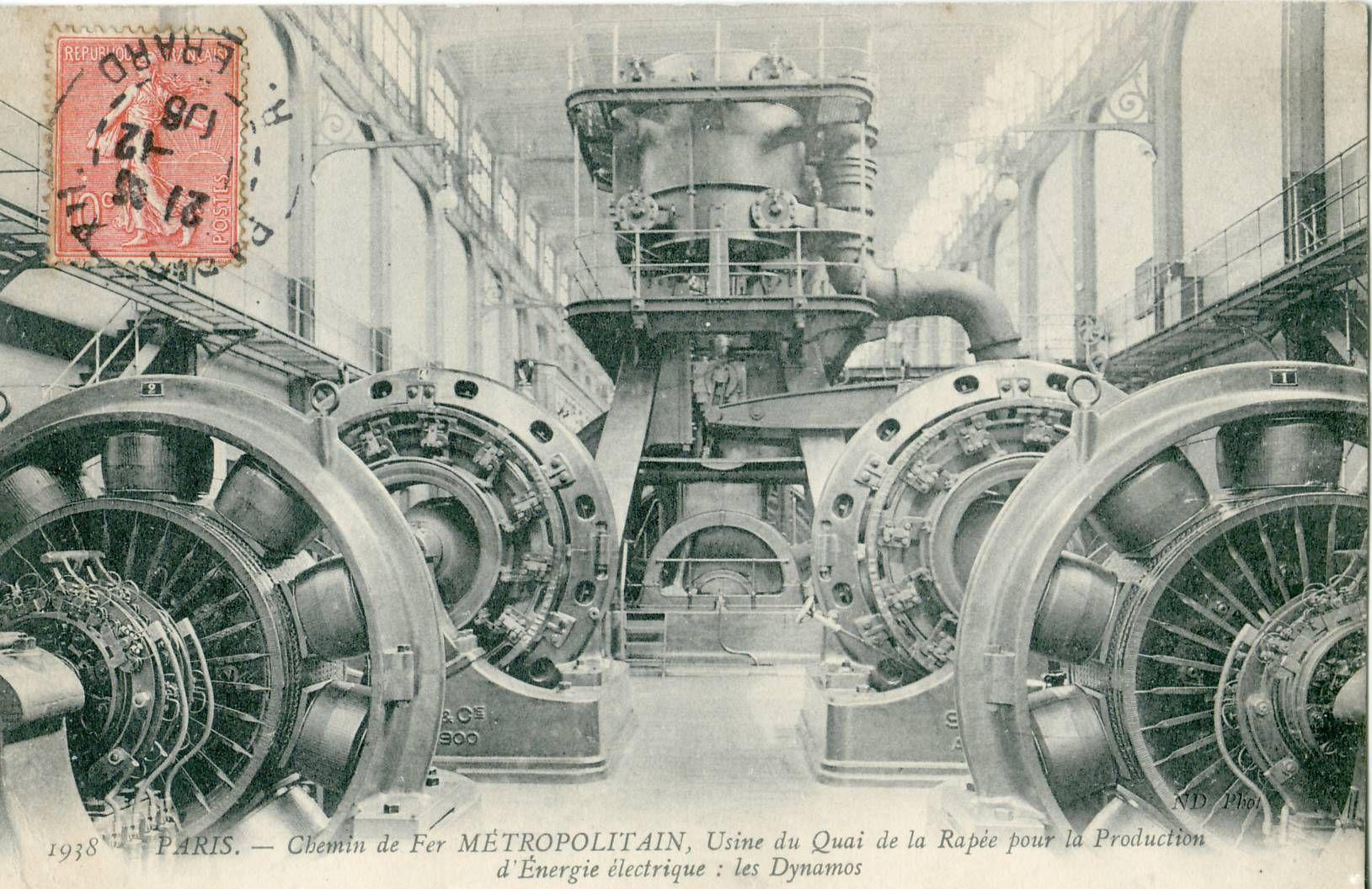 PARIS - Chemin de fer métropolitain - Usine du Quai de la Rapée pour la production d'énergie électrique - Les Dynamos - 001