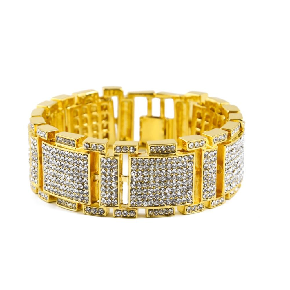 Luxury bling iced out hip hop bangles big row simulated diamond