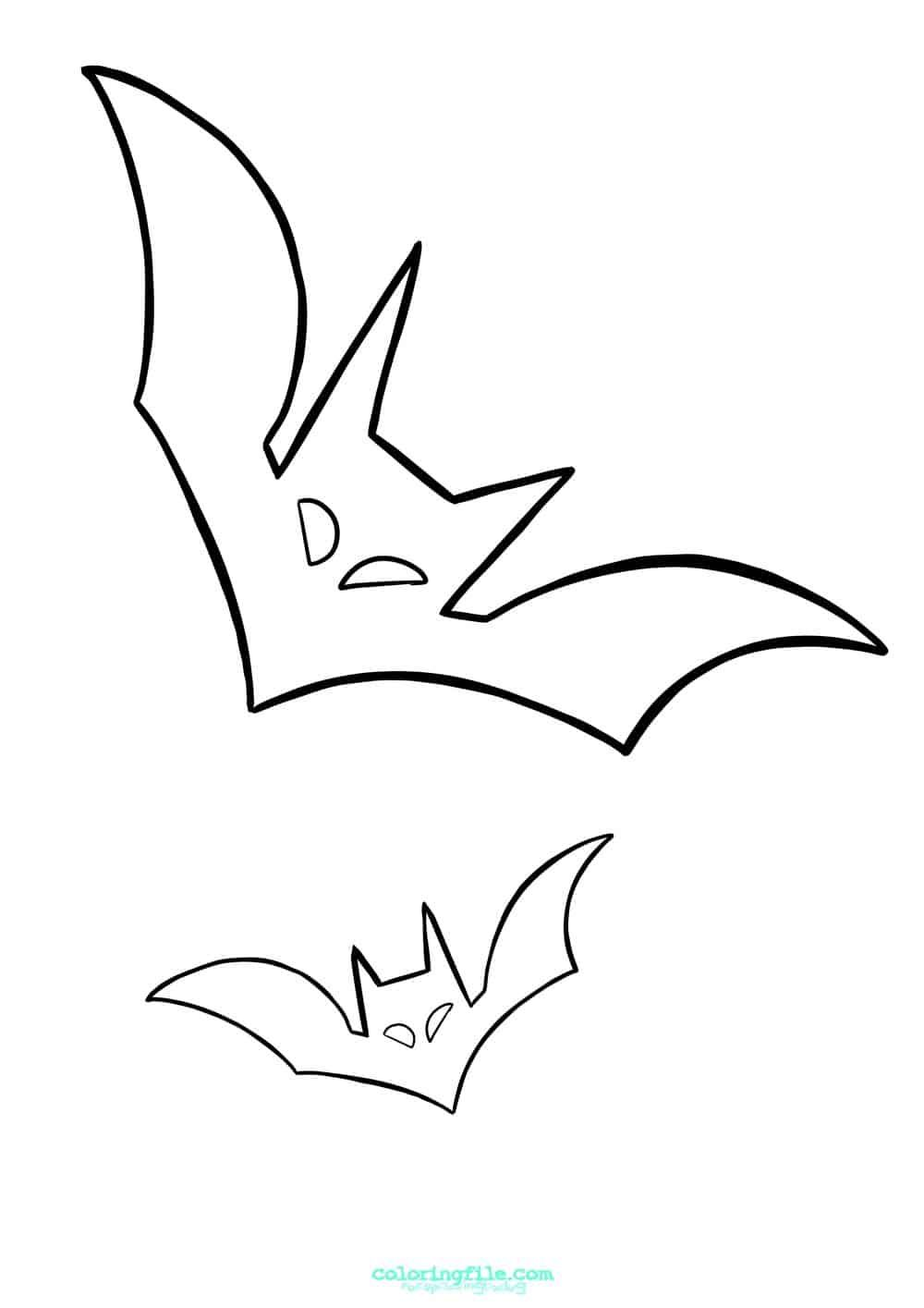 Halloween Two Bat Coloring Pages From 100 Halloween Coloring