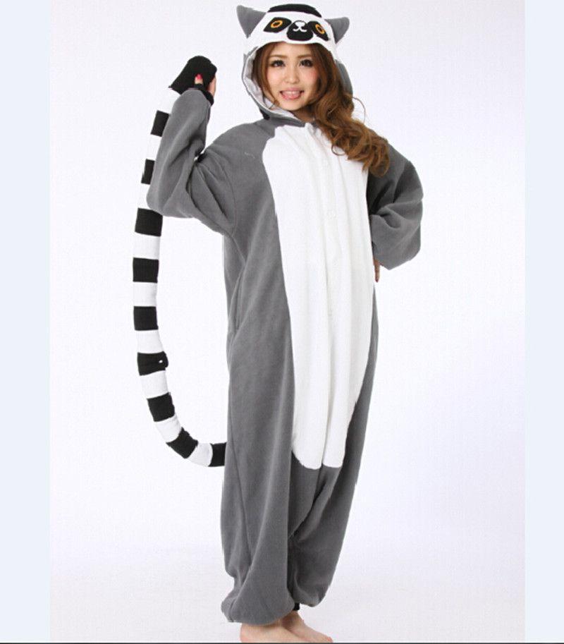 Adulto Pigiama All in One Pigiama Animale Si Adatta Alle Donne Inverno Homewear Del Fumetto Sveglio Anello-Coda Lemure Madagascar Fancy Pigiama set