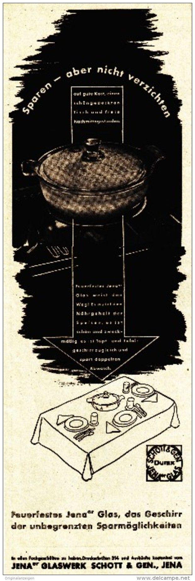 Original Werbung Anzeige 1939 Jenaer Glas Schott