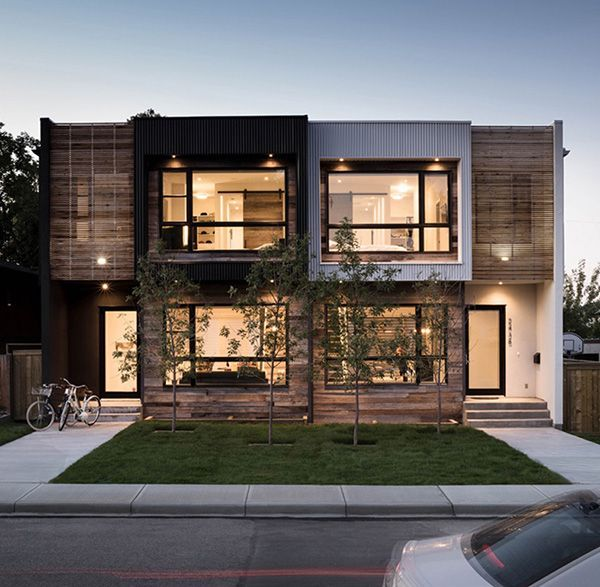 Modern Urban Infill In Calgary Showcasing Reclaimed Materials Duplex Design Modern Townhouse Townhouse Designs
