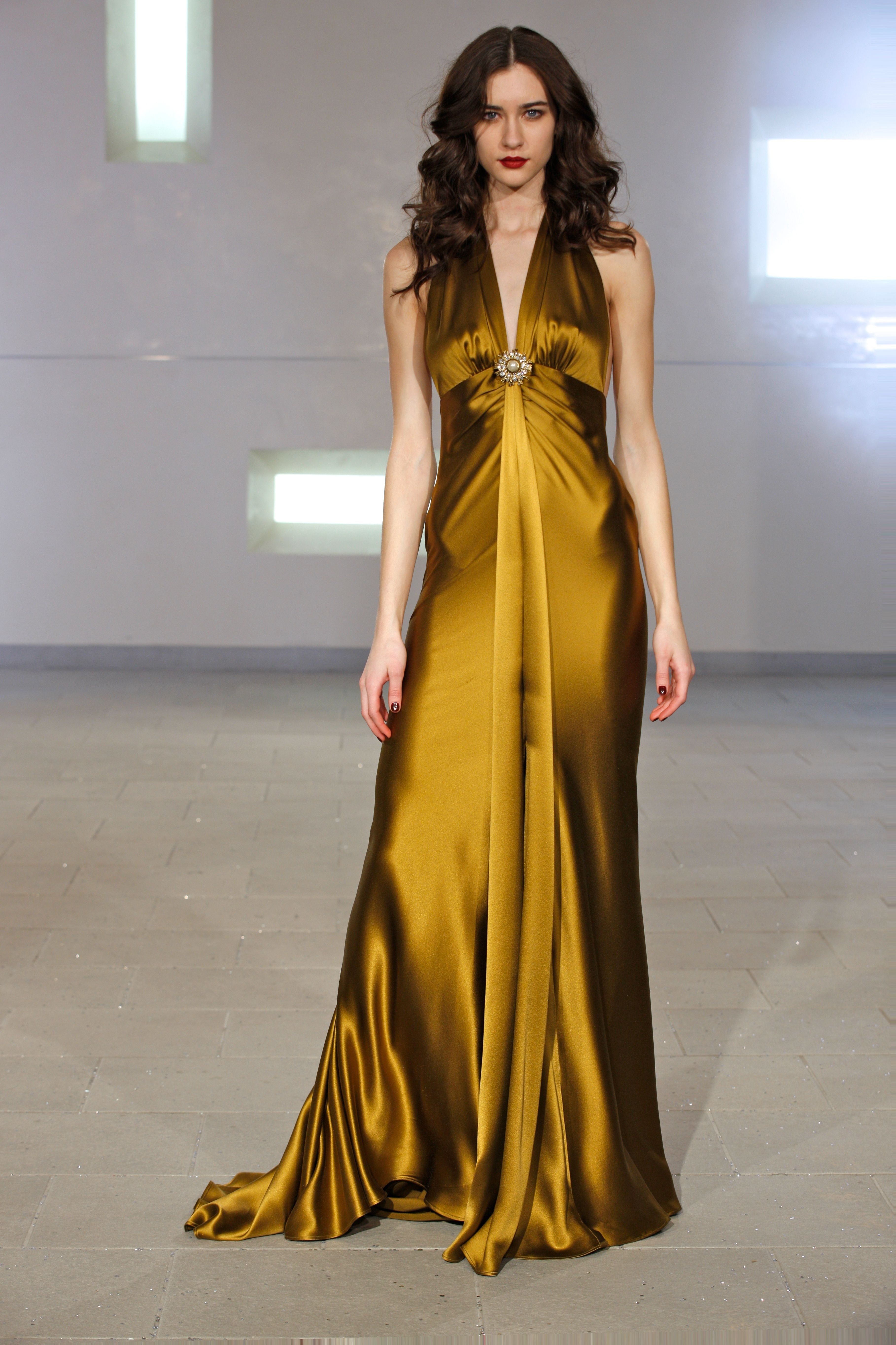 dark gold charmeuse gown