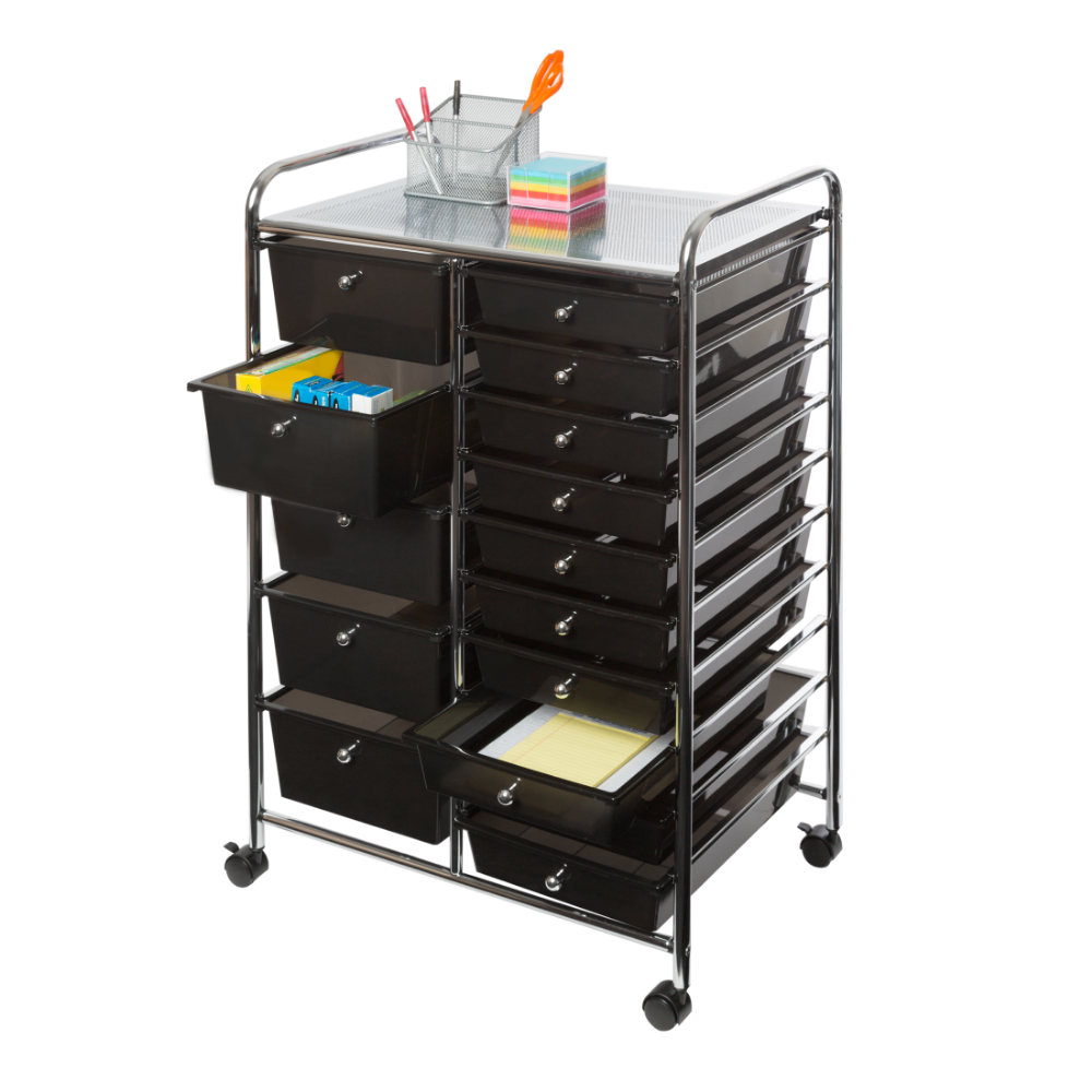 15 Drawer Organizer Cart W Wheels Black By Seville Classics Walmart Com Organization Cart Drawer Organisers Drawer Bins