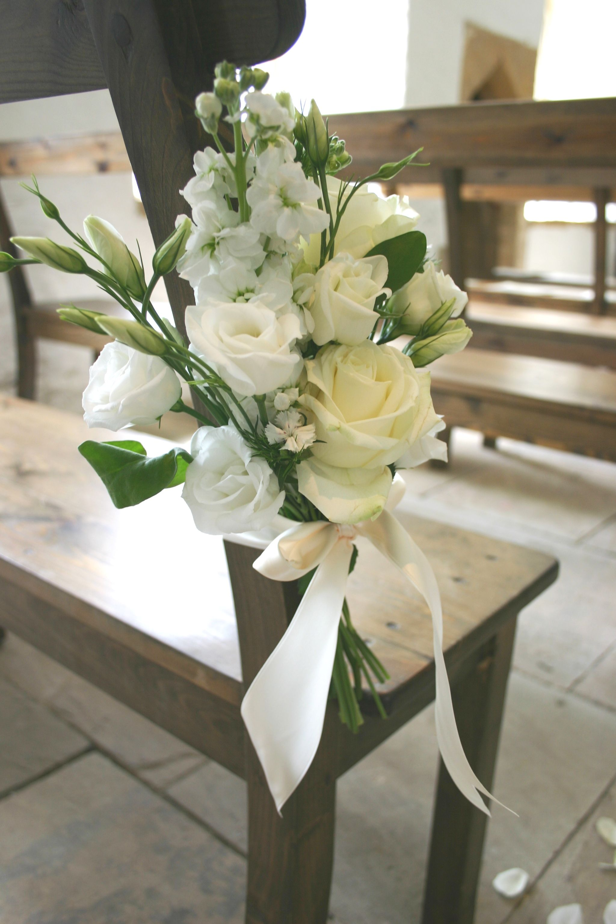Flower tie for pew ends classic creams and whites Church