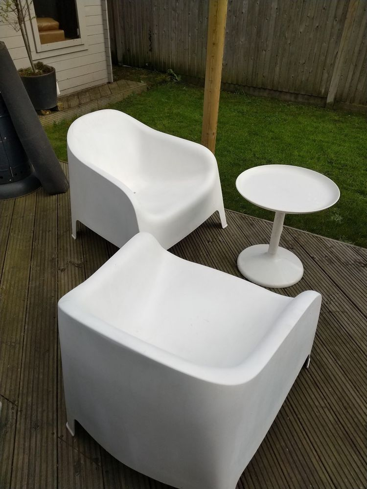 2 Matching Ikea White Skarpo Garden Chairs Slight Split On One