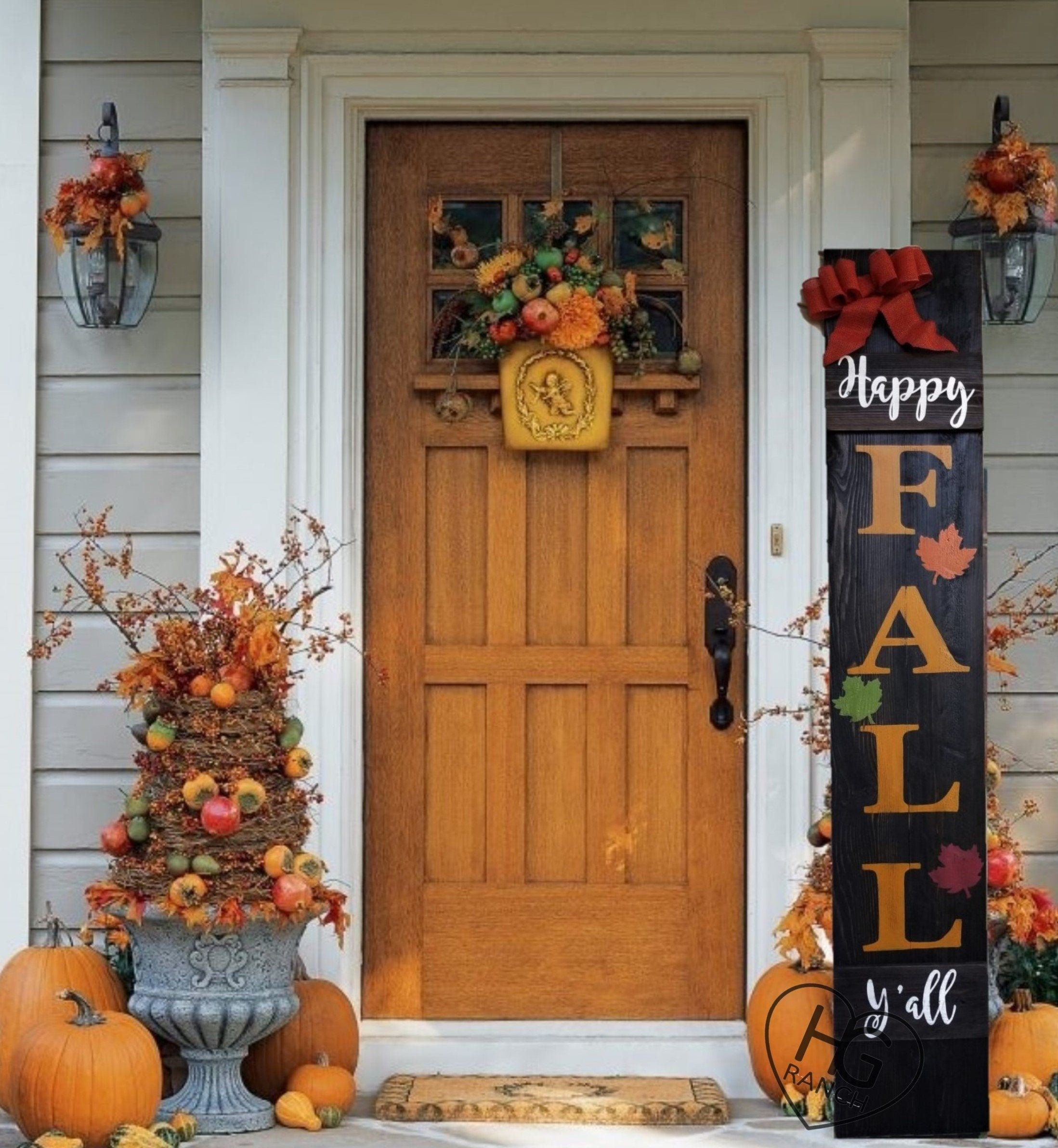 Happy Fall Y'all Porch Sign 6' Leaves Orange Burla