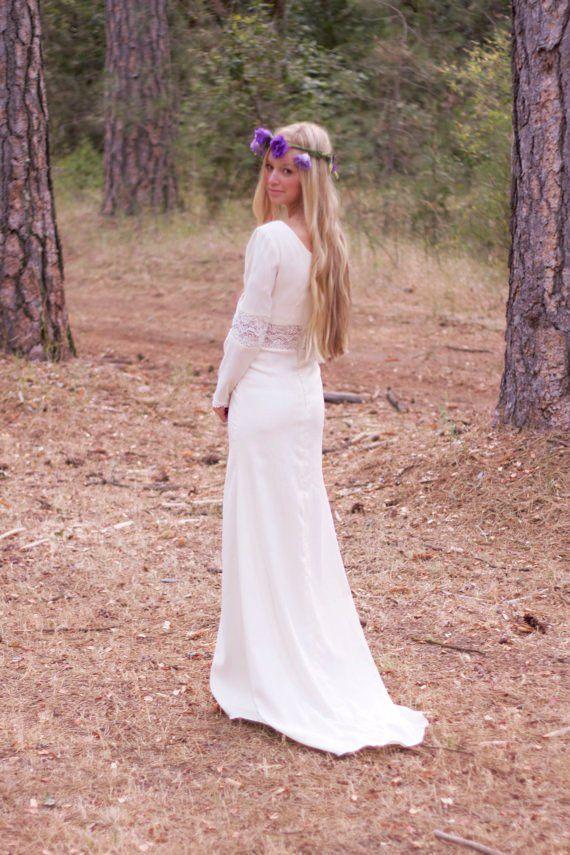bohemian wedding dresses | ... Wedding Dress Long Sleeved Crochet ...