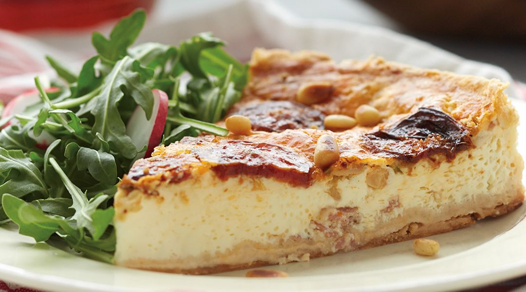 Roasted Tomato and Tre Stelle® Bocconcini Quiche #Quiche #Bocconcini #Tomatoes #Pancetta or #Bacon
