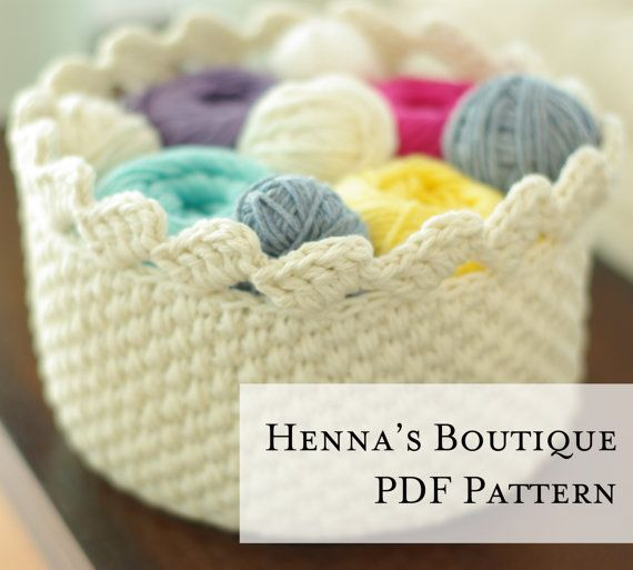 Round Lace Edge Basket Crochet Pattern PDF by hennasboutique, $5.00 ...