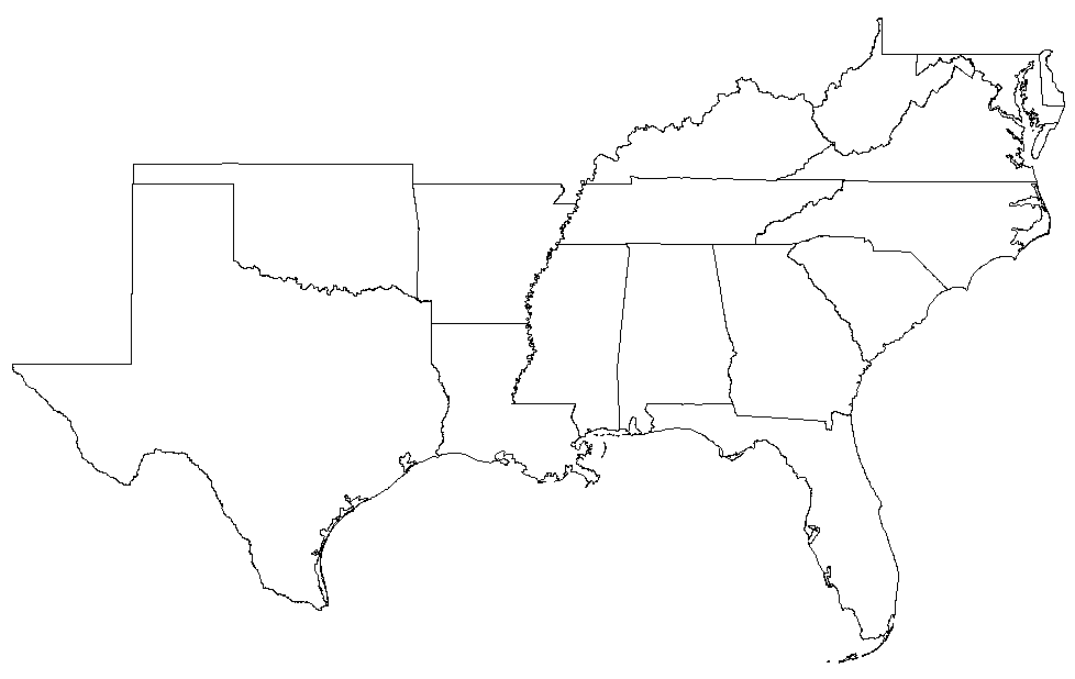 Blank Map Of Southeast Us Blank Map of Southeastern Region | States on Pinterest | 50 States