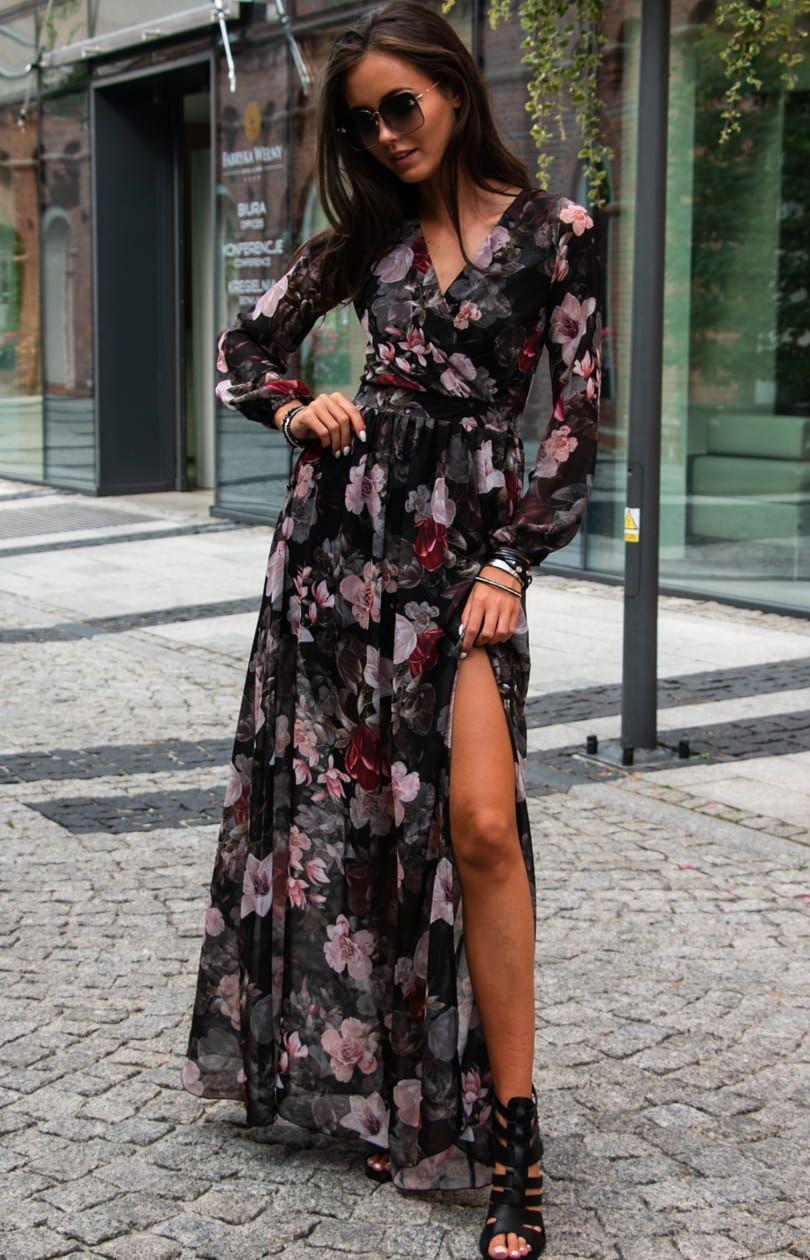 Dluga Sukienka W Kwiaty Roco 0219 D51 Fashion Dresses Black Dress