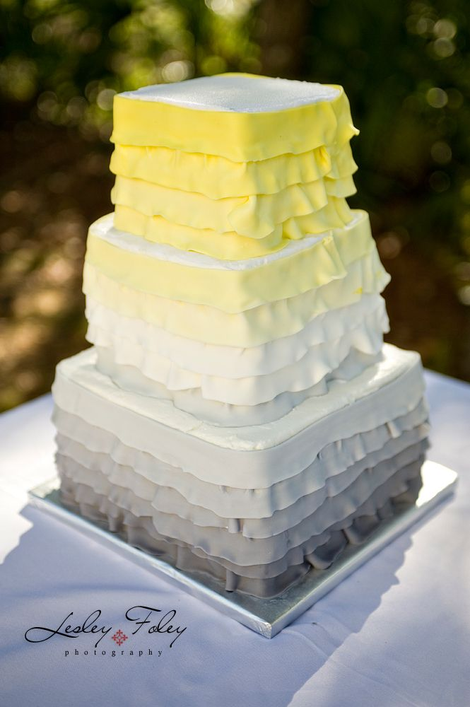 Ombre yellow and gray wedding cake | Yellow and Gray Wedding ...