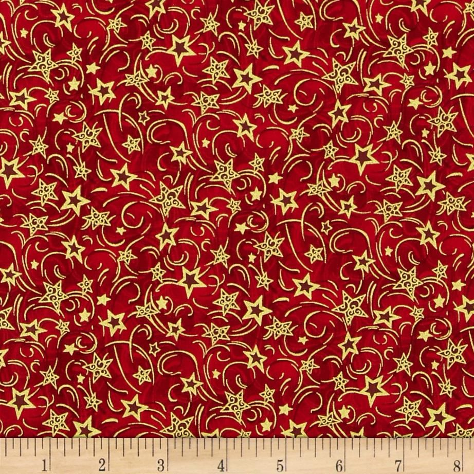 Nutcracker Christmas Metallic Stars Red from @fabricdotcom  Designed by Judy Hansen for Paintbrush Studios and Fabri-Quilt, this cotton print is perfect for quilting,apparel and home decor accents.  Colors include shades of red and metallic gold.