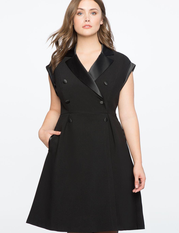 f85113a792 Double Breasted Tuxedo Dress | Women's Plus Size Dresses in 2019 ...