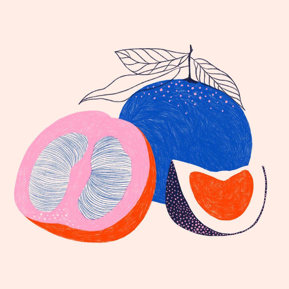 Food recipe kitchen art illustration modern geometric minimalist fruit
